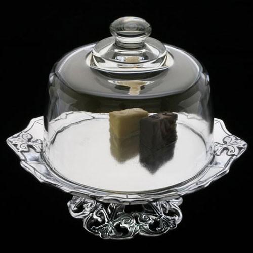 Arthur Court Fleur De Lis Plate With Glass Dome