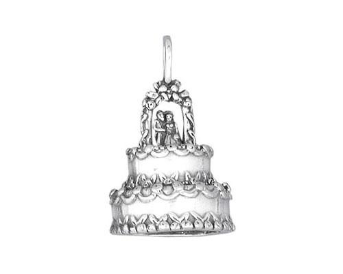 sterling silver wedding cake charm. Black Bedroom Furniture Sets. Home Design Ideas