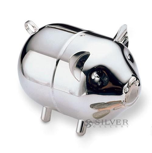 Lunt piggy bank - Engraved silver piggy bank ...