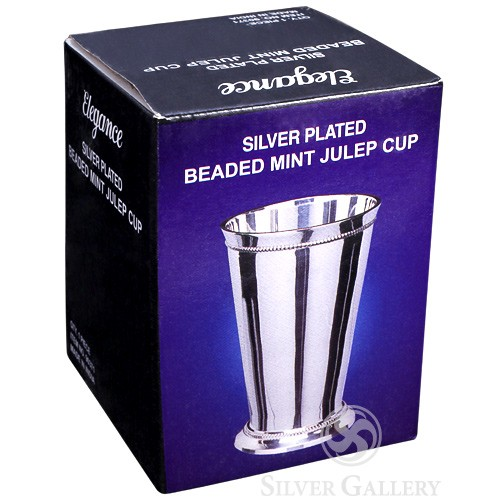 Engravable Beaded Mint Julep Cup Silver Plated