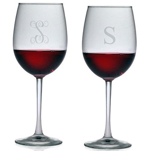 5b42d4e49b8 Susquehanna All Purpose Wine Glasses - Initial (Set of 4)