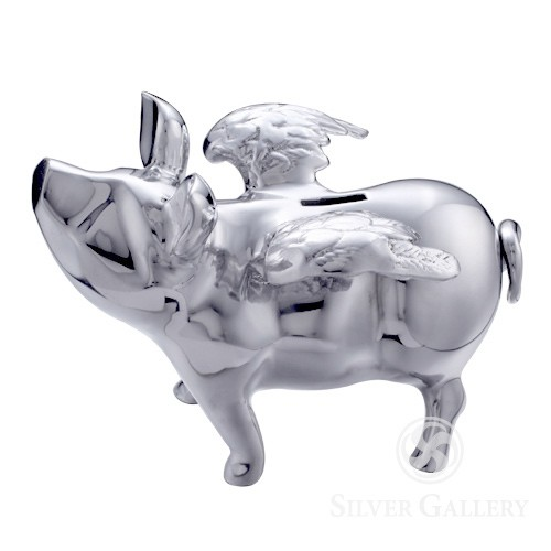 Lunares pigs do fly piggy bank silver - Engraved silver piggy bank ...