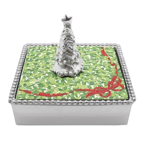 Beaded Napkin Box w/Christmas Tree Weight - Cocktail Napkins