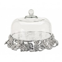 Arthur Court Grape Cake Tray with Glass Dome