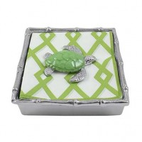 Mariposa Bamboo Napkin Box w/Green Enamel Sea Turtle Weight