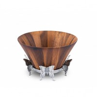Arthur Court Butterfly Tall Wooden Salad Bowl