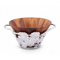 Arthur Court Grape Tall Wooden Salad Bowl