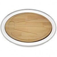 Reed and Barton Benchmark Oval Tray with Wood Insert