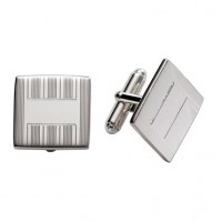 Sterling Silver Square Engine Turned Cuff Links
