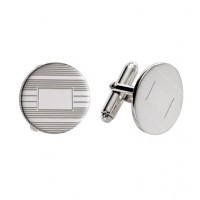 Sterling Silver Round Engine Turned Cuff Links
