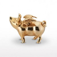 Lunares Pigs Do Fly Piggy Bank - Goldplate