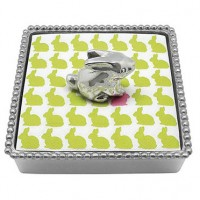 Mariposa Beaded Napkin Box with Bunny Weight
