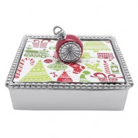 Mariposa Beaded Red Ornament Napkin Box