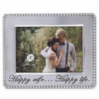 Arthur Court Horizontal Beaded Happy Wife Happy Life Frame - 5 x 7