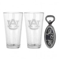 Arthur Court Auburn University Pub Glass & Bottle Opener Set