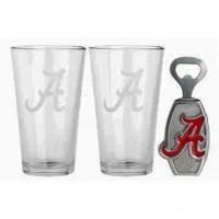 University of Alabama Pub Glass & Bottle Opener Set