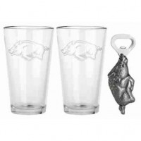 University of Arkansas Pub Glass & Bottle Opener Set
