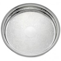 Reed & Barton Silverplate Round Gallery Tray - 13""