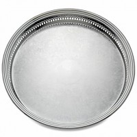 Reed & Barton Silverplate Round Gallery Tray - 15""