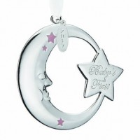 Reed & Barton 2017 Baby's 1st Christmas Crescent Moon Ornament - Pink - Ships August 2017