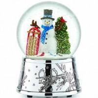 Reed & Barton Snowman & Sleigh Musical Snowglobe