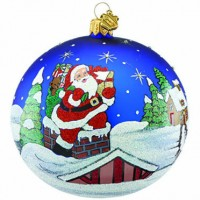 Reed & Barton Rooftop Santa Glass Ornament - Ships August 2017