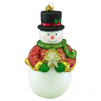 Reed & Barton Snowman & Star Figural Glass Ornament - Ships August 2017