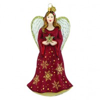 Reed & Barton Angel & Star Figural Glass Ornament - Ships August 2017