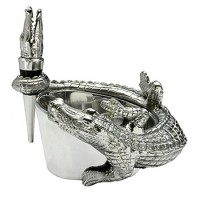 Arthur Court Alligator Wine Caddy & Stopper Set