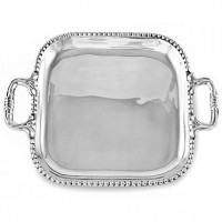 Beatriz Ball Pearl Square Tray w/Handles - Medium