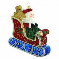 Reed & Barton Classic Christmas Santa with Sleigh Ornament