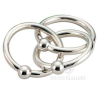 Cunill Sterling Silver 3-Ring Ball Rattle