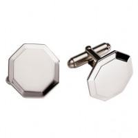 Sterling Silver Octagonal Honeycomb Cuff Links