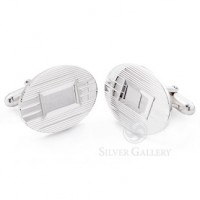 Sterling Silver Oval Engine Turned Cufflinks