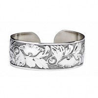 Sterling Silver Blossoms Wide Cuff Bracelet