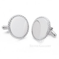 Sterling Silver Round Rope Cufflinks