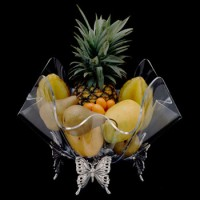 """Arthur Court Butterfly Stand w/ 14"""" Acrylic Bowl"""