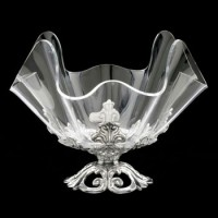 "Arthur Court Fleur-De-Lis Stand with 11"" Acrylic Bowl"