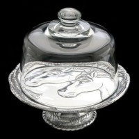 Arthur Court Horse Footed Plate with Glass Dome - 8""