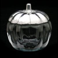 Arthur Court Pumpkin Glass Bowl with Metal Lid