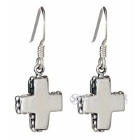 Sterling Silver Mini-Cross Earrings with Beaded Edge