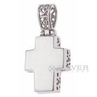 Sterling Silver Reversible Cross Pendant with Fancy Scroll