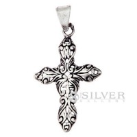 Floral Enchantment Cross Pendant