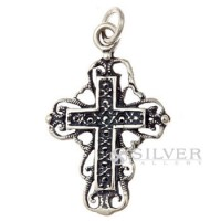 Cross Pendant with Heart Embellishments