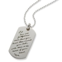"BB Becker ""Hearts Tablet"" Mini Sterling Silver Dog Tag w/Chain"