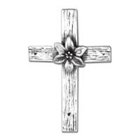 Rustic Lily Cross Brooch