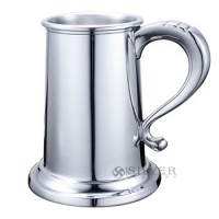 Boardman Pewter Glass Bottom Tankard - 16 Oz