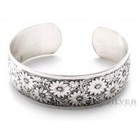 Sterling Silver Spring Flowers Cuff Bracelet
