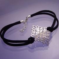 Sterling Silver & Leather Bracelet - Elizabethan Knot Garden