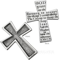 Sterling Silver Touchstone Cross - Serenity Prayer